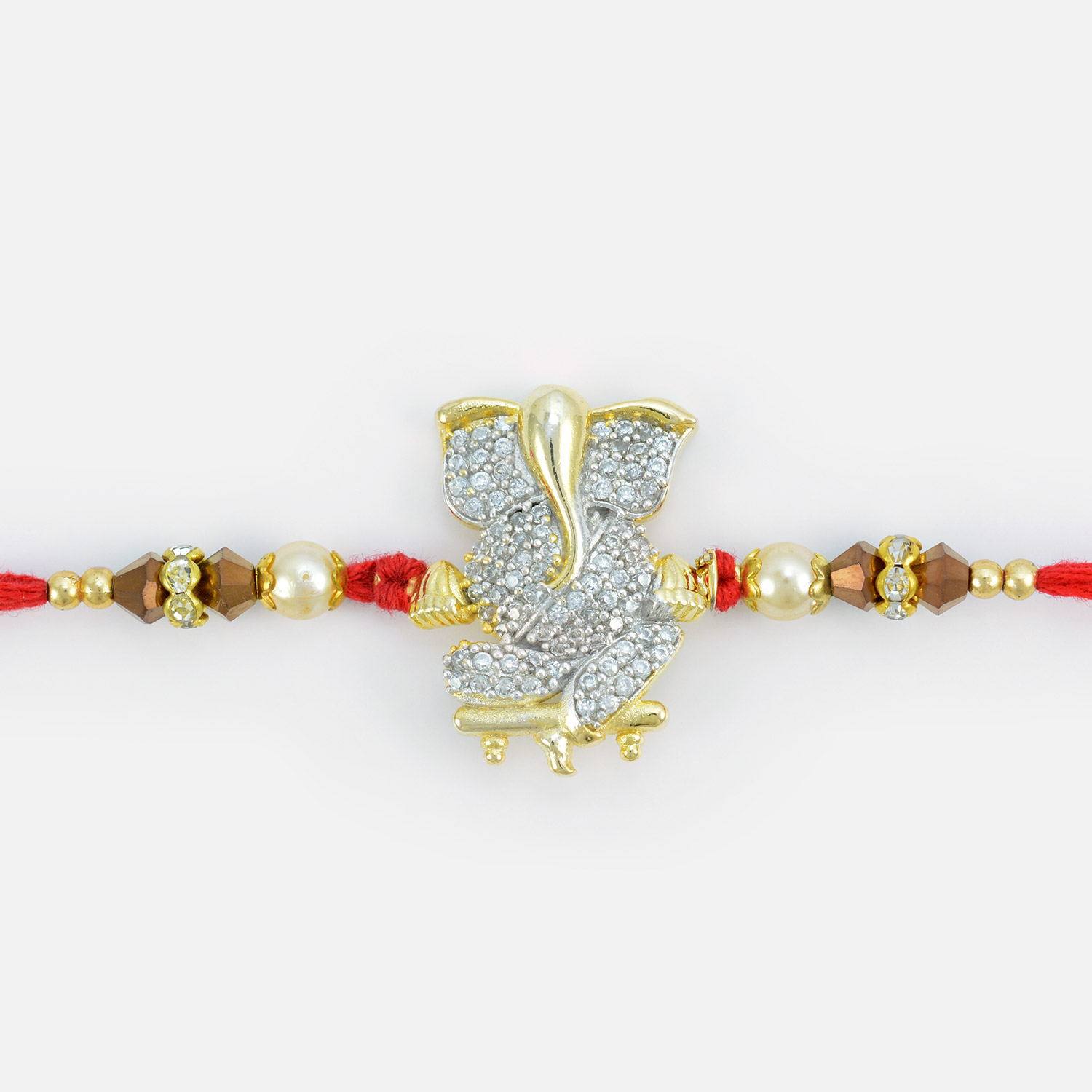 Auspicious Silver and Golden Base Ganesha Rakhi with Pearl and Beads