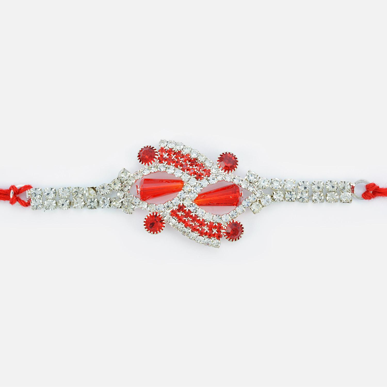 Fancy Red Diamonds and Beads Studded Jewel Rakhi