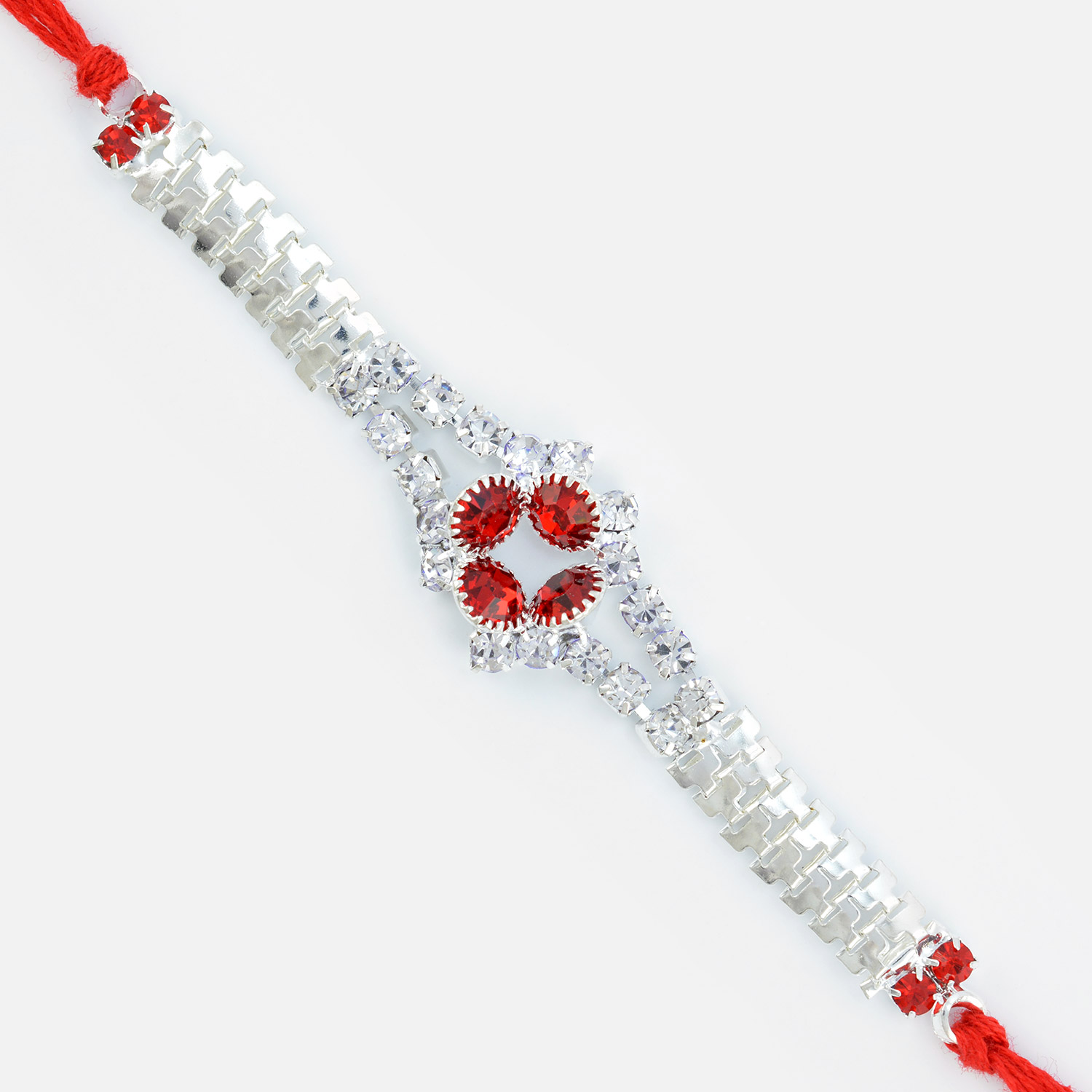 Jewels Rakhi in Red Dori with White and Red Diamonds