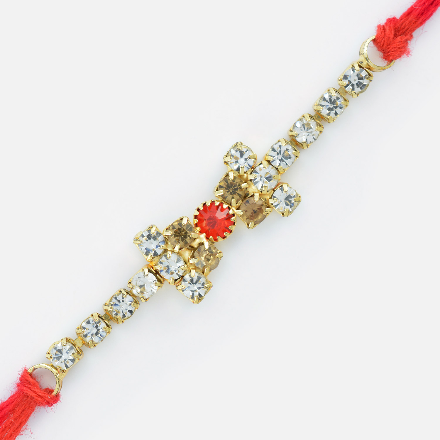Sightly Different Central Red Dimaond Rakhi for Brother