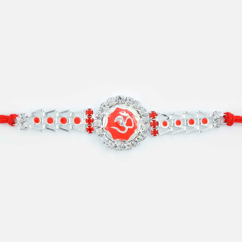 Sindoori Meena Om Floral Shape Diamond Rakhi