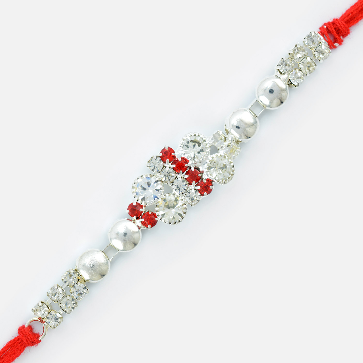 Magnificently Designed Pearl and Jewel Linear Rakhi