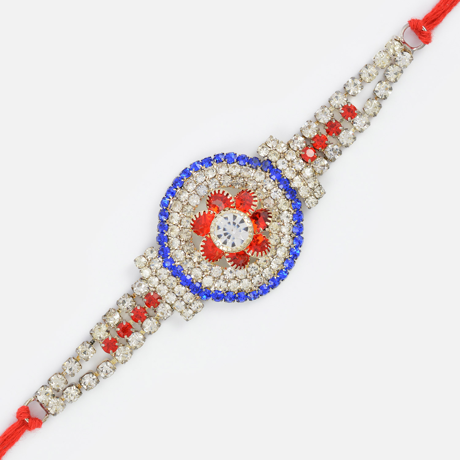 Stylish Silver Net and Jewel Rakhi