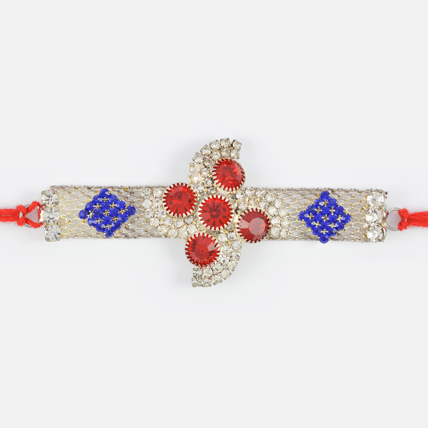 Awesome White Red and Blue Belt Type Jewel Silver Rakhi