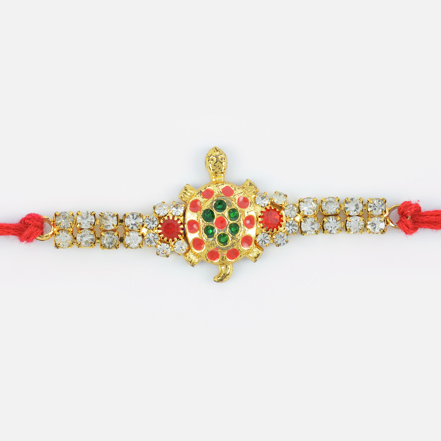 Colorful Spots Base Golden Tortoise Rakhi with Red and White Diamonds