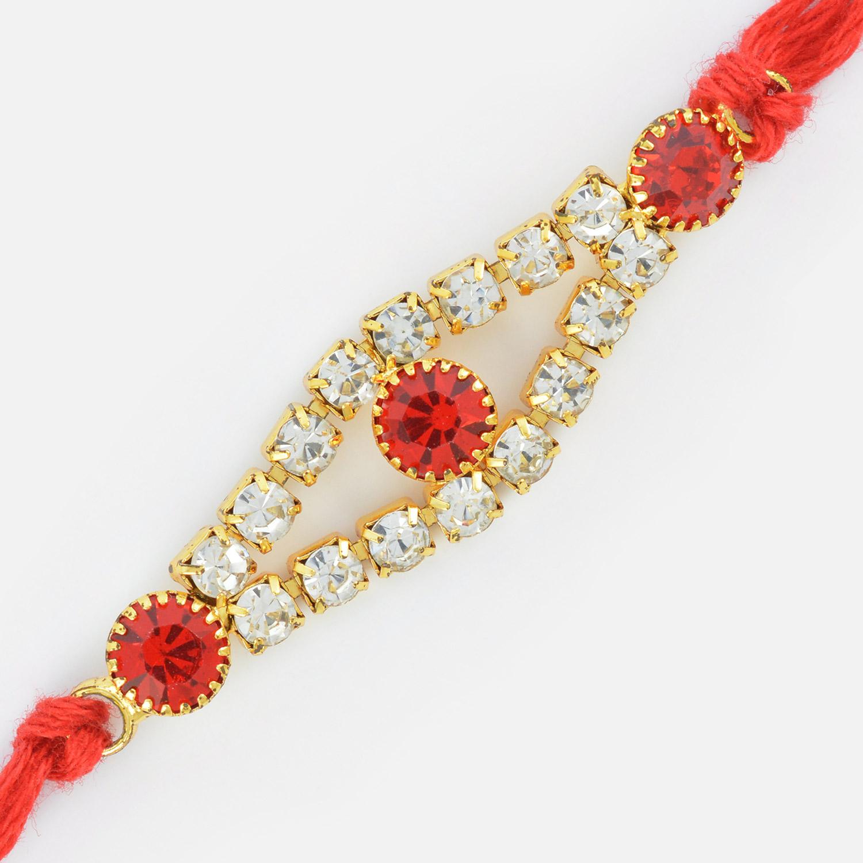 Golden with Diamond Studded Stylish Rakhi