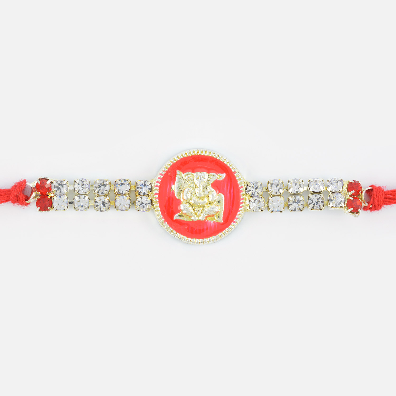 Diamond Sindoori Silver Swastic Ganesha Rakhi