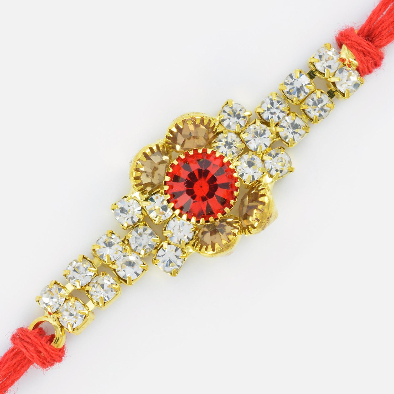 Amazing Floral Design Tri-Color Diamond Rakhi