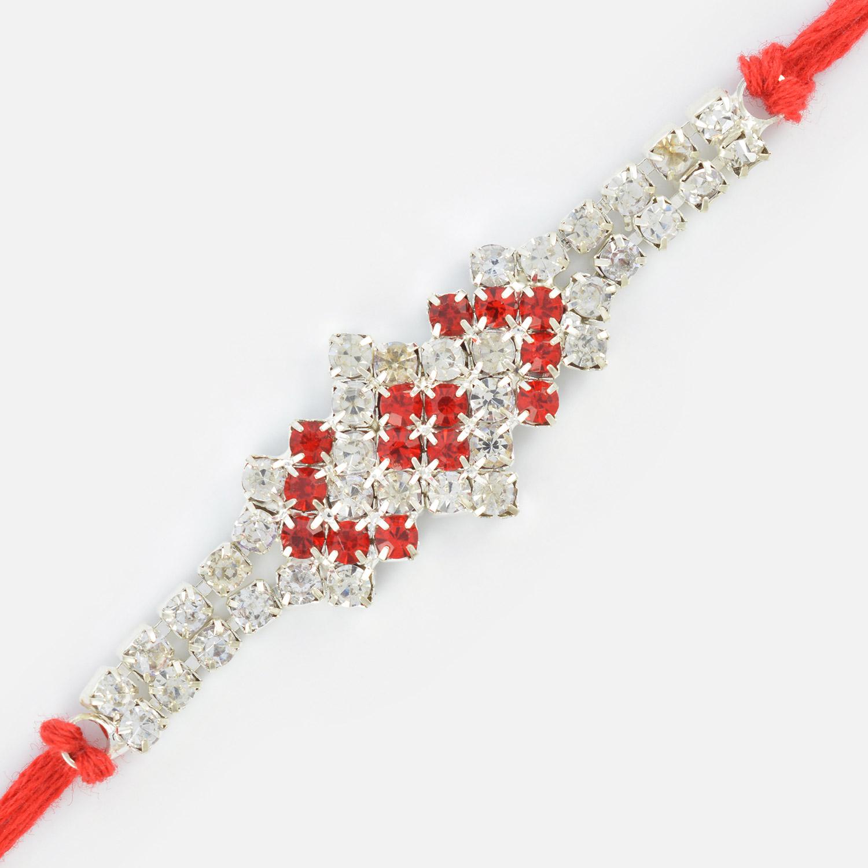 Square Shape Bi-Color Base Diamond Jewel Rakhi