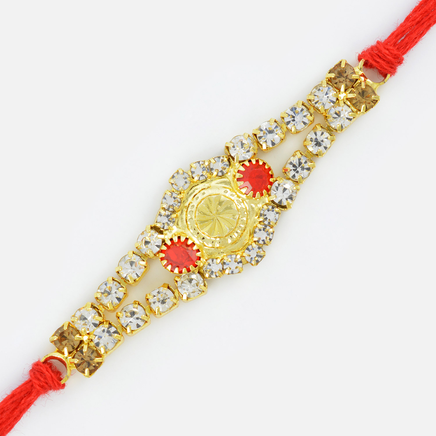 Circular Golden Diamond Designer Rakhi