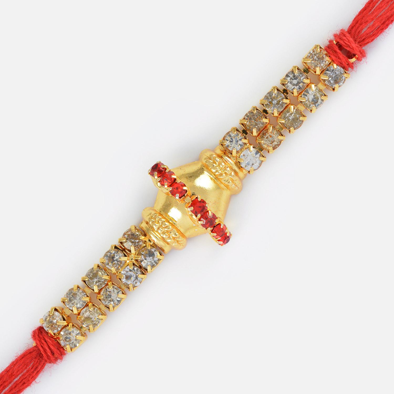 Golden Base with Red Diamond Linear Ring Rakhi