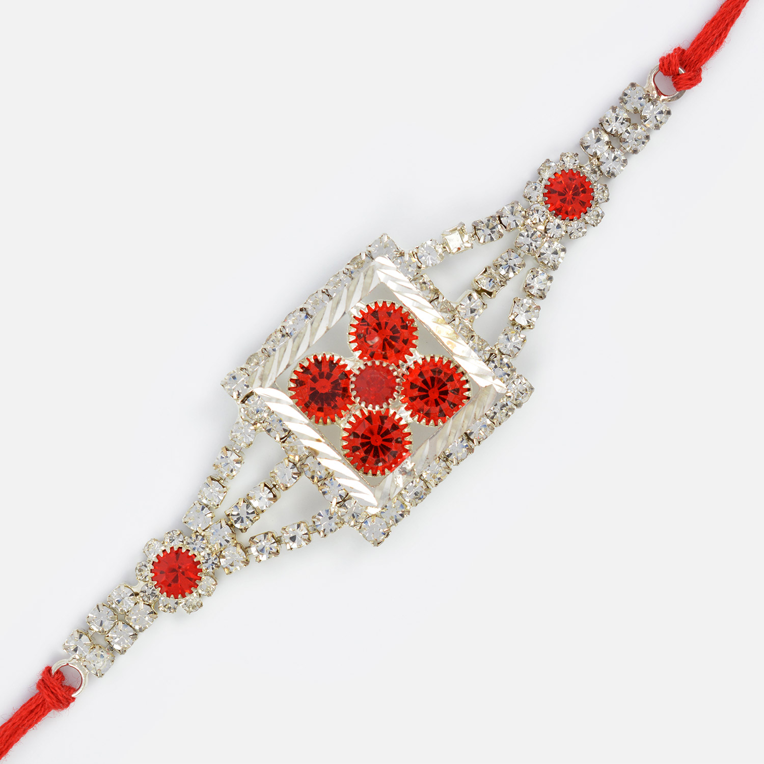 Silver Squre Shape with Red DIamonds Rakhi for Brother