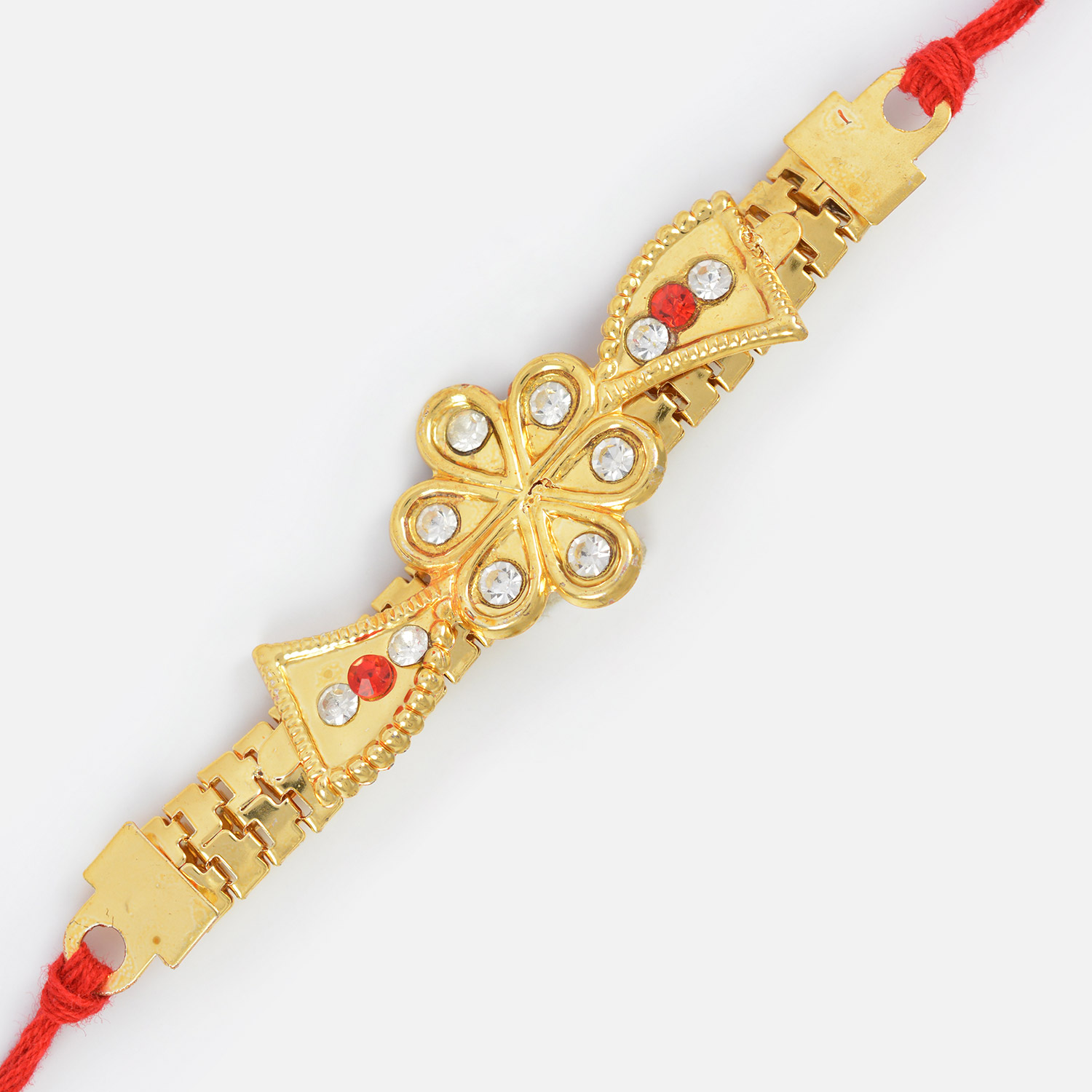 Simply Elegant Diamond Golden Color Floral Shape Jewel Rakhi