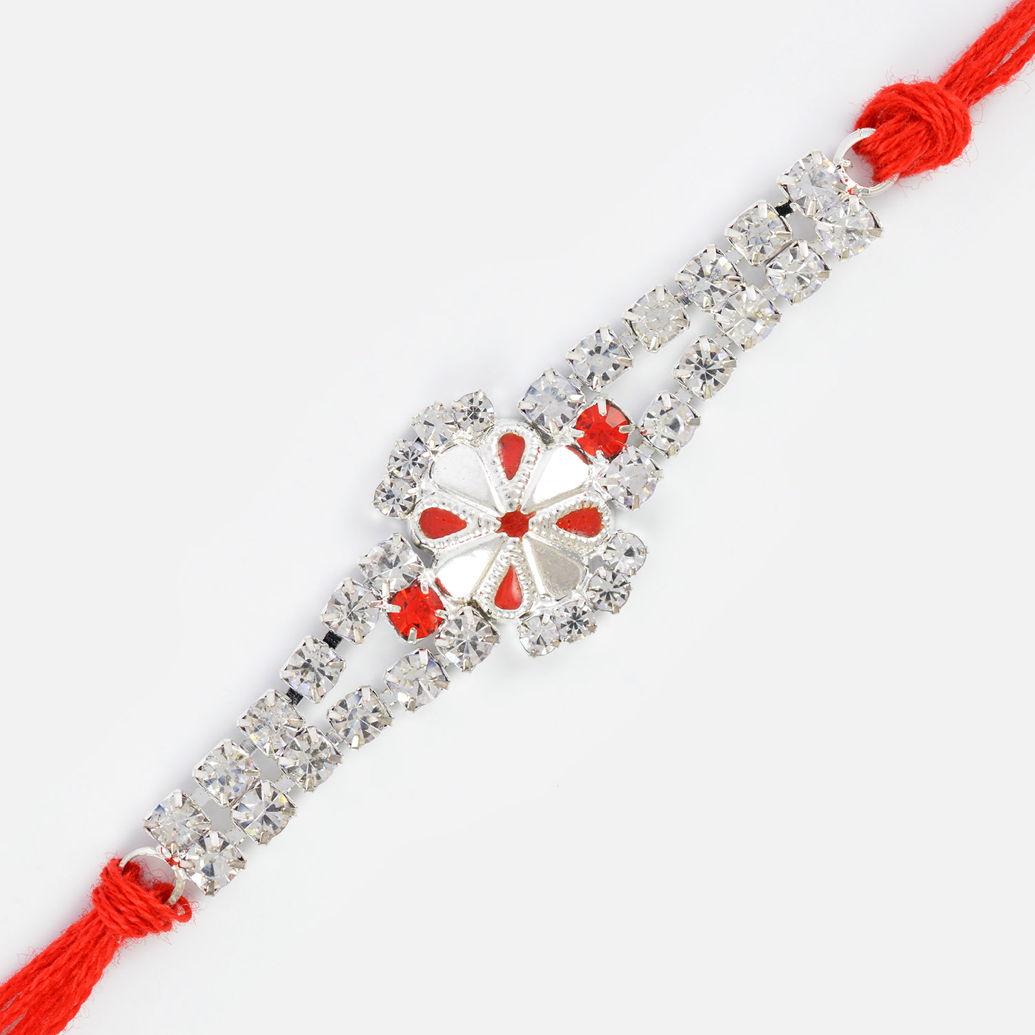 Diamond Special Red and Silver Rakhi for Brother