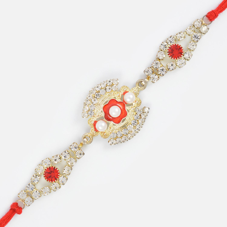 Excellent Kundan Floral Rakhi
