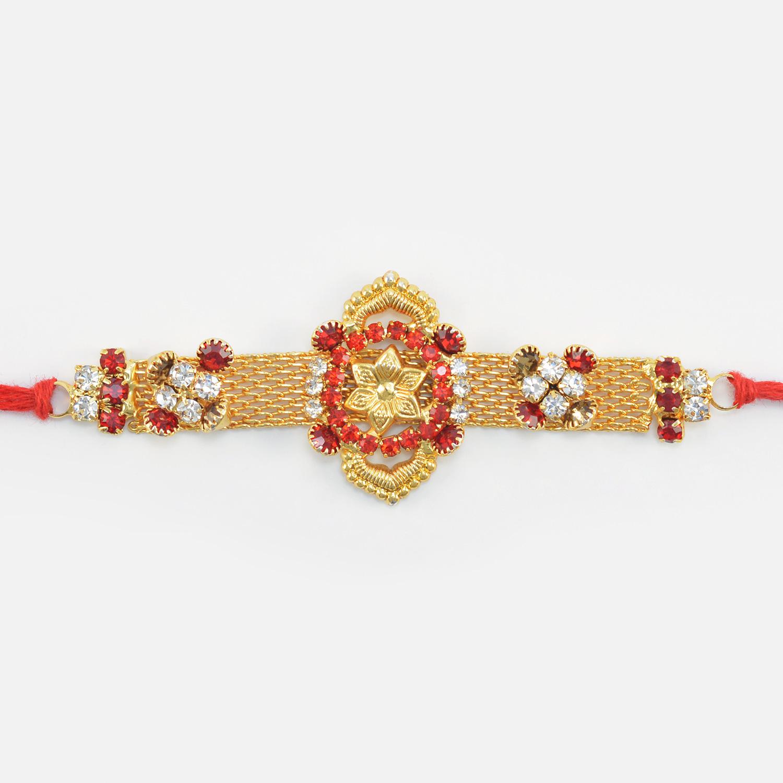 Golden Flower in Jewel Ring New Design Rich Jewel Rakhi