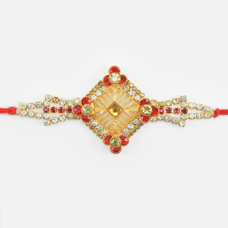 Square Shape Design Jewel Studded Nice Looking Bhai Rakhi