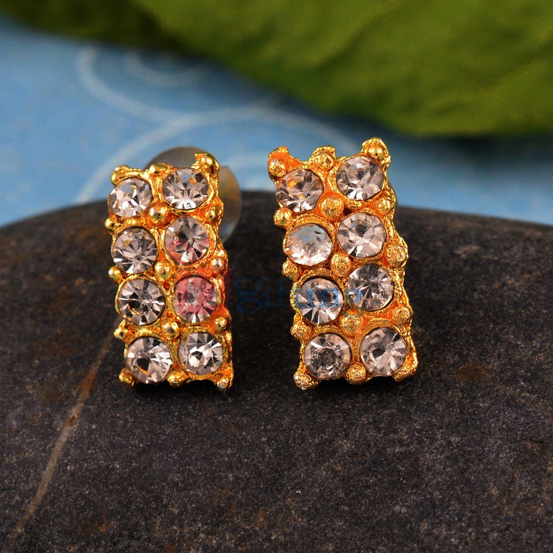 Amazing Rectangular Golden Touch Diamond Earrings