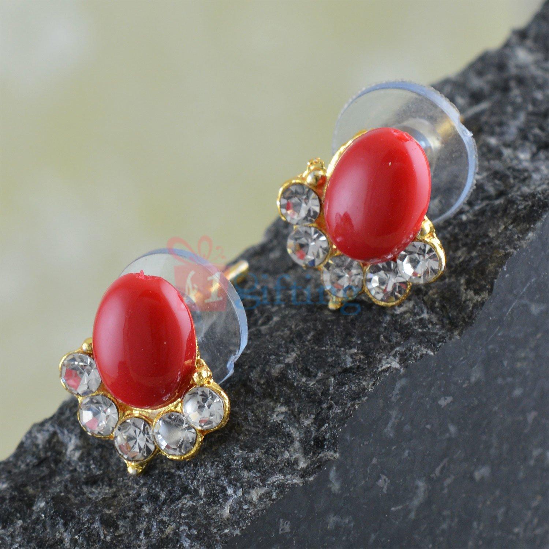 Firoza Color Fancy Diamond Studded Earrings