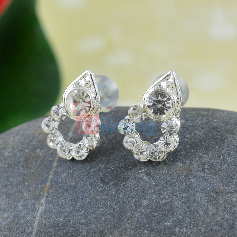 Diamond Tilak Shape Fancy Silver Touch Earrings