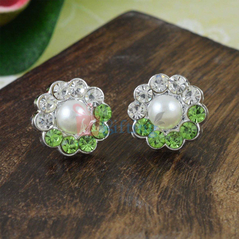 Pearl Diamond Flowered Earrings