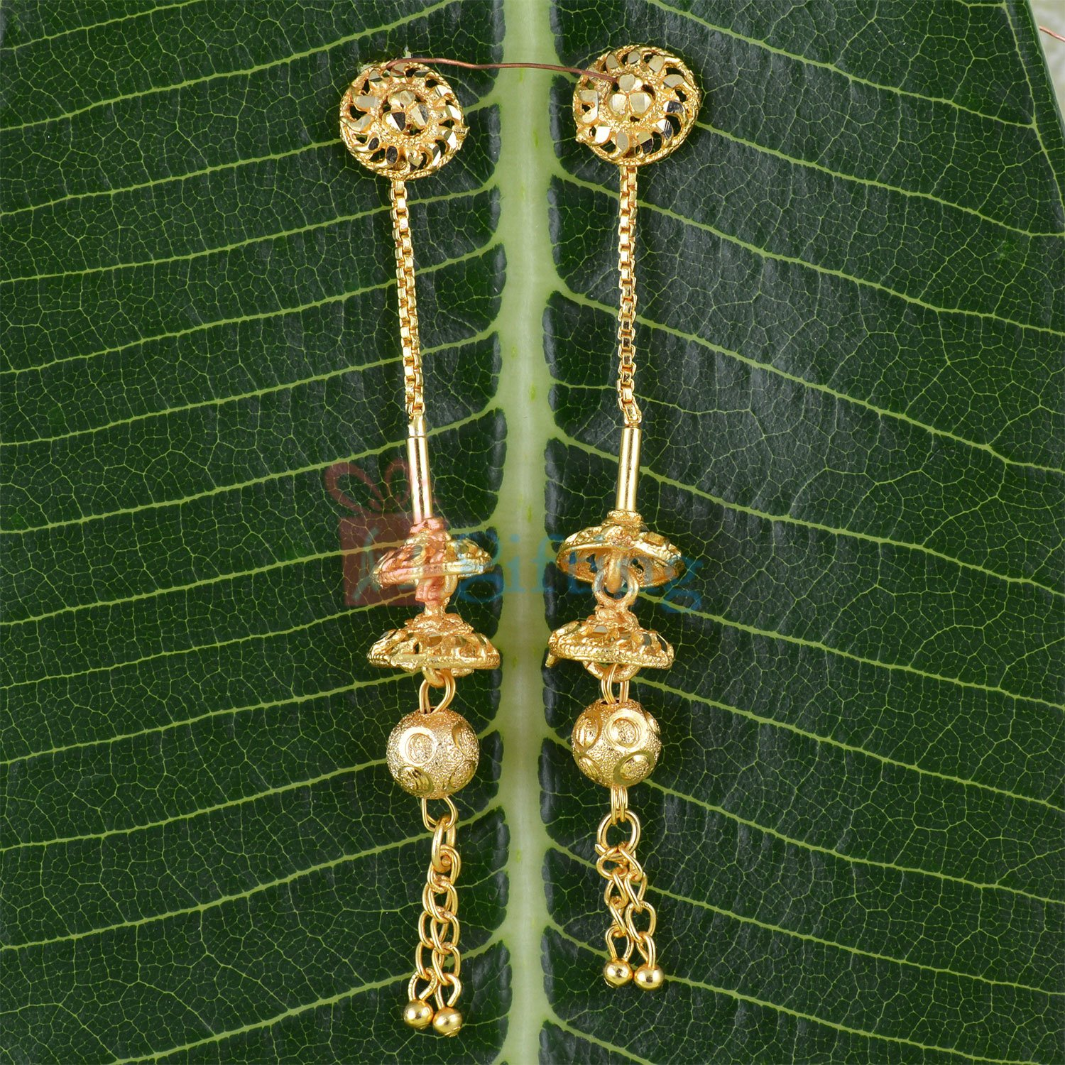 Beautiful Golden Touch Sui Dhaga Long Earrings