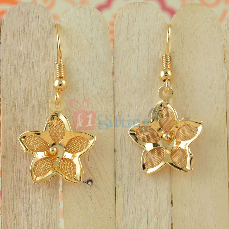 Net Flower Fancy Golden Touch Earrings