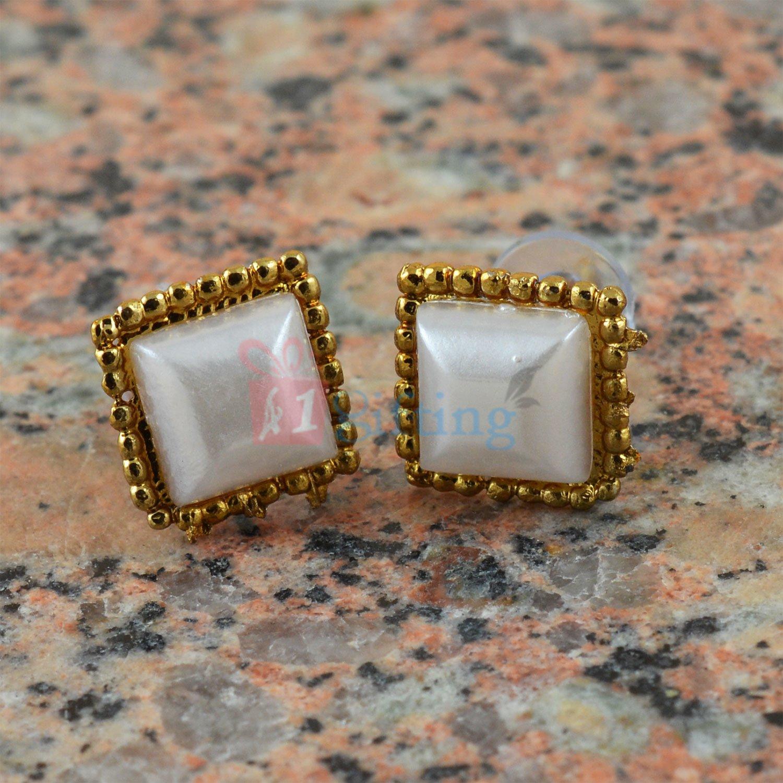 Square Pearl Touch Fancy Earrings