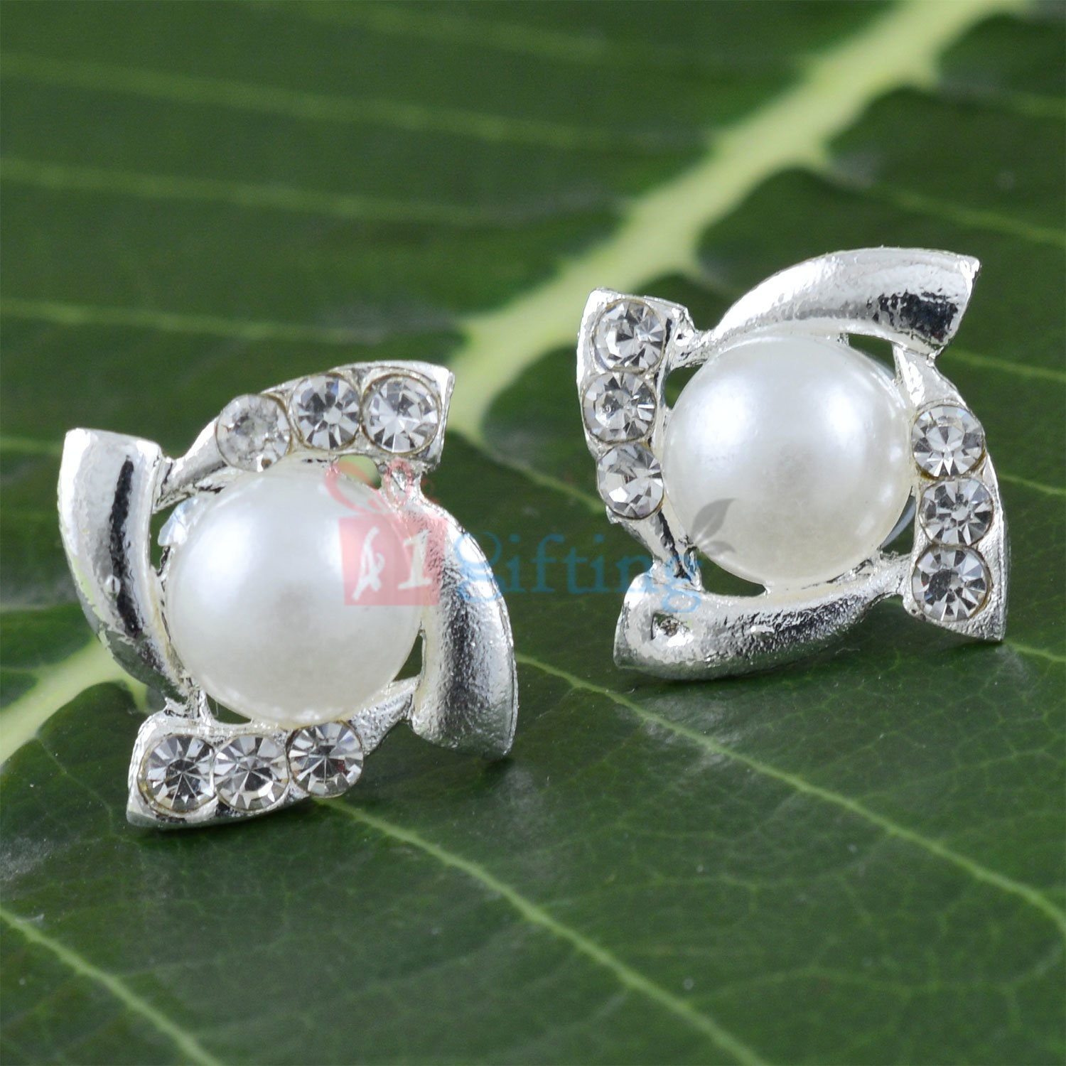 Pearl Diamond Silver Fancy Earrings