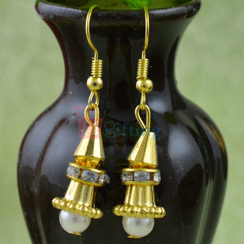 Pearl Diamond Spiral Sui Dhaga Earring