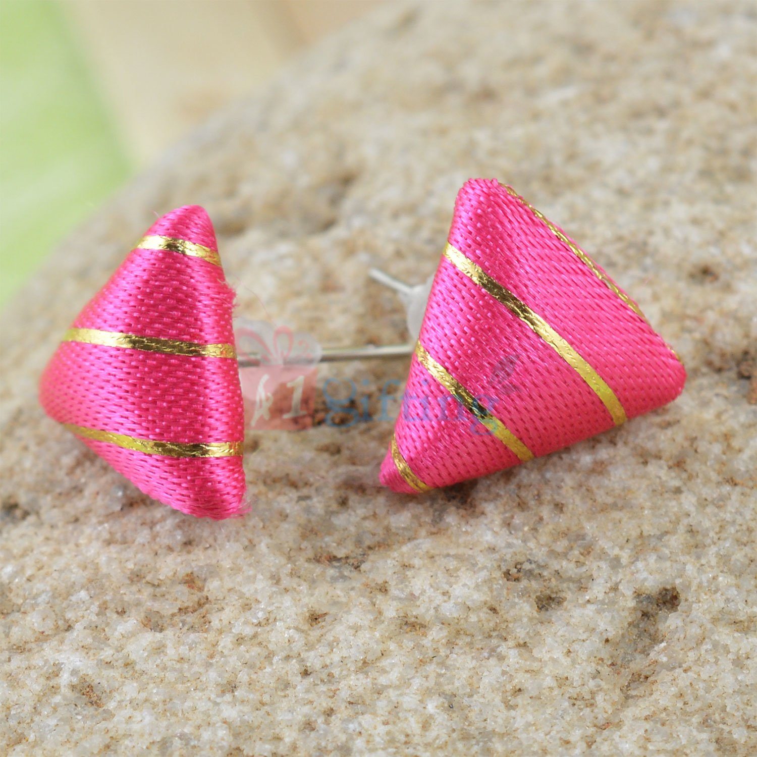 Pink Tringular Fancy Earrings