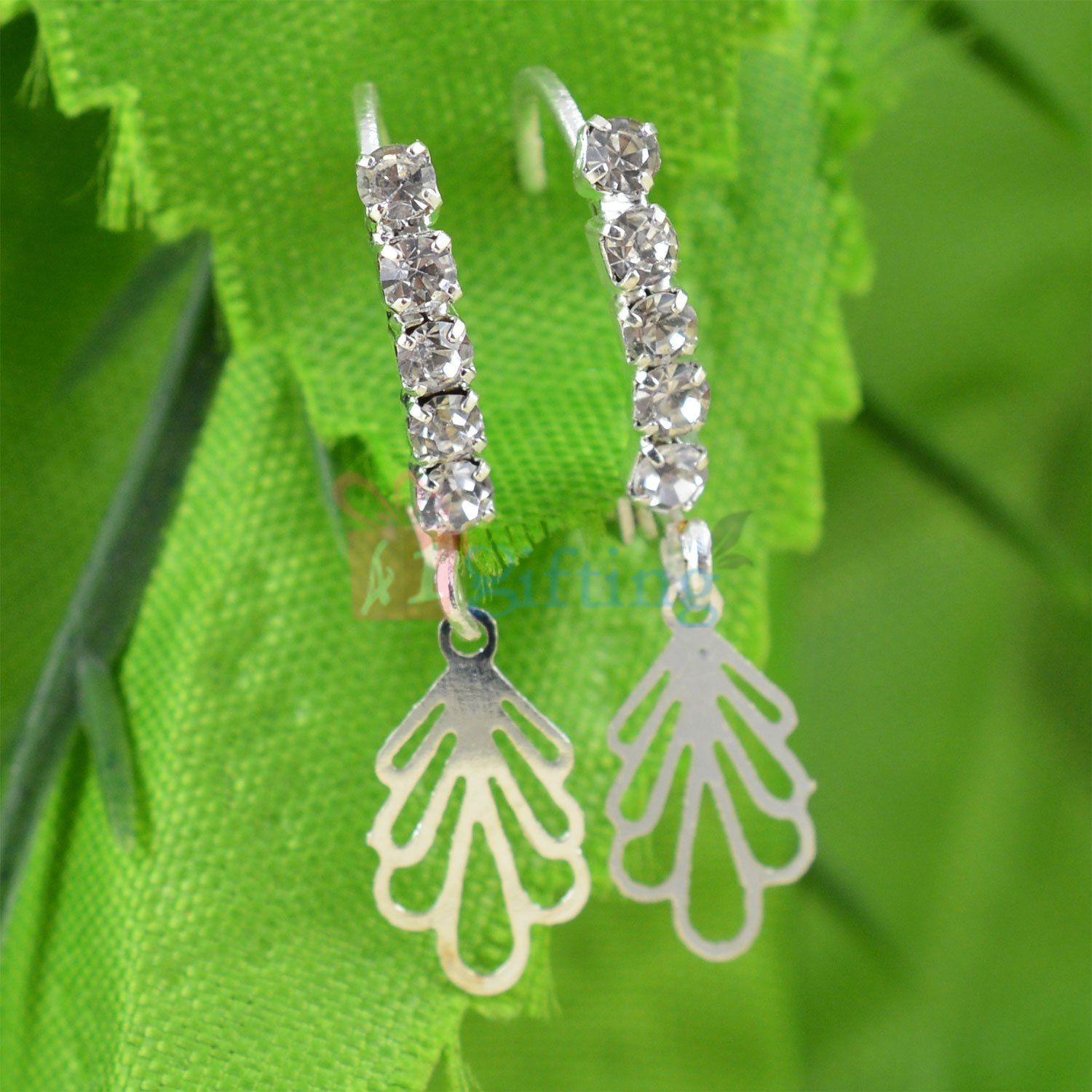 Silver and Diamond Liner Leaf Fancy Earrings