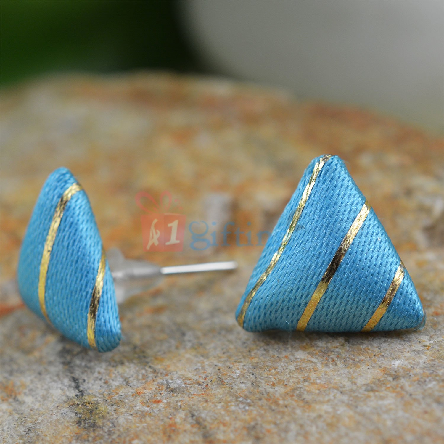 Sky Blue Fancy Triangle Earrings