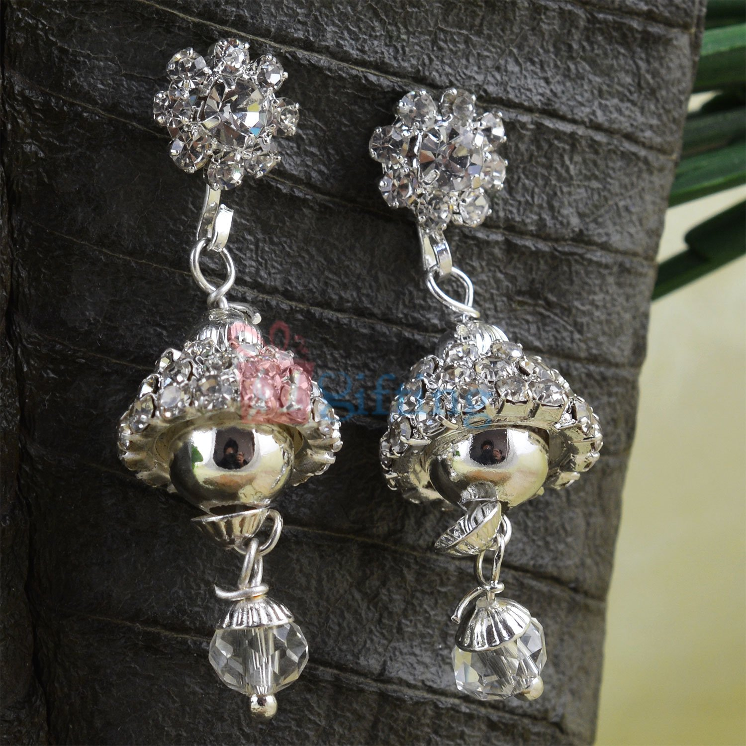 Amazing Silver Diamond Beads Jhumar Style Fancy Earrings