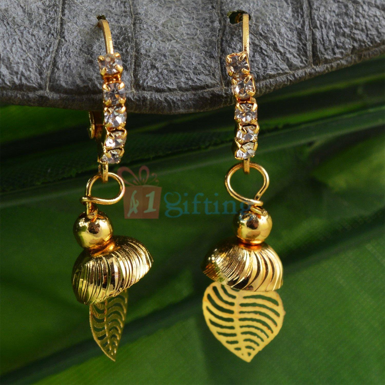 Diamond Liner Leaf Jhumar Golden Touch Fancy Earrings