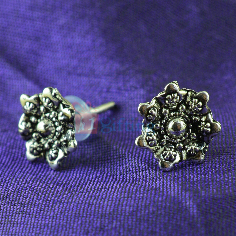 Antique Shining Silver Flower Fancy Earrings