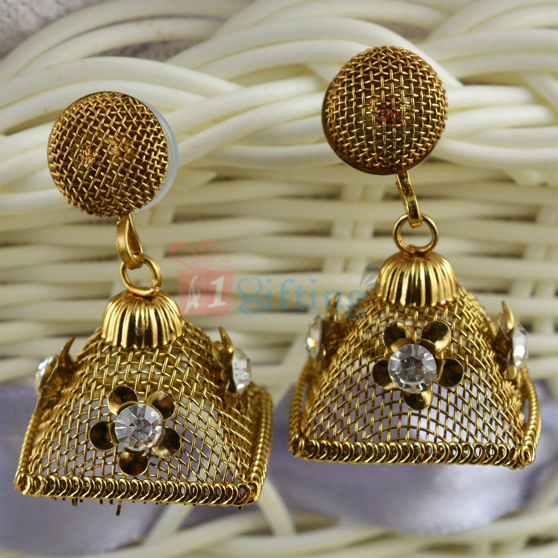 Jhali Cut Light Weight Beautiful Square Jhoomar Earrings