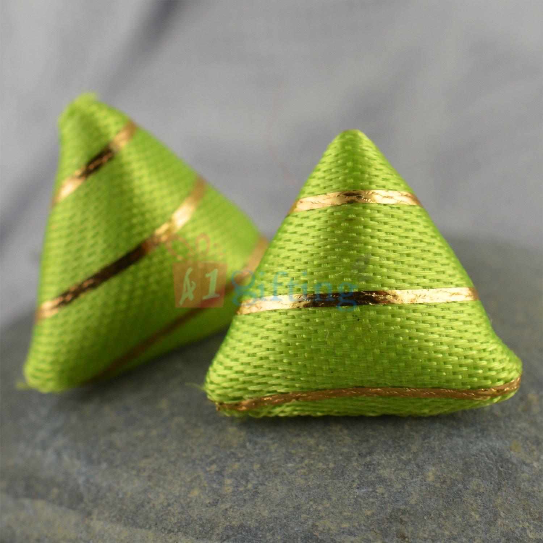 Green Triangular Fancy Golden Liner Earrings