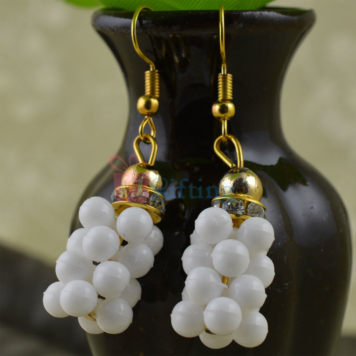 White Grapes Diamond Studded Beautiful Earrings