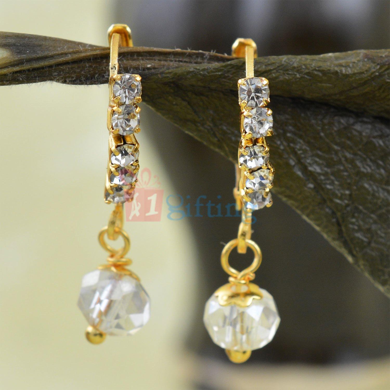 Awesome Diamond Liner Beads Fancy Earrings