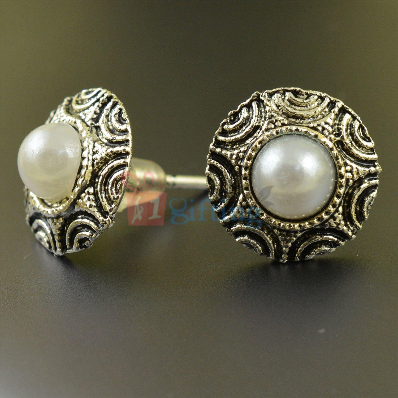 Antique Silver Look Pearl Fancy Earrings