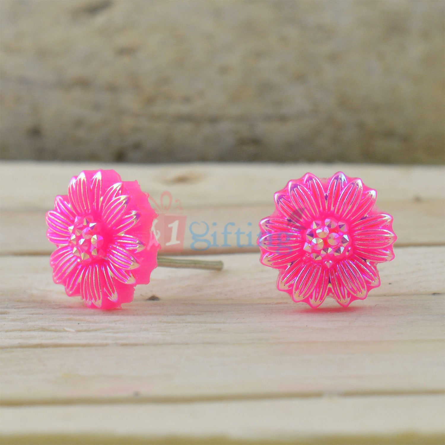 Pink Sparkling Floral Light Weight Earrings