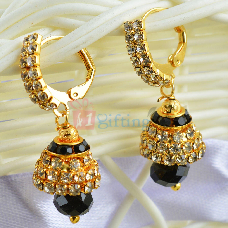 Amazing Diamond Ring Jhoomer Black Cut Dangler Earrings