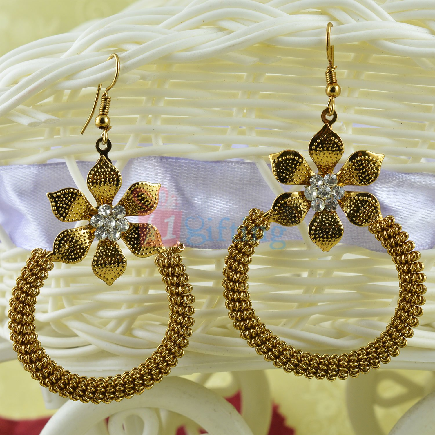 Beautifully Carved Golden Spiral Diamond Floral Earrings