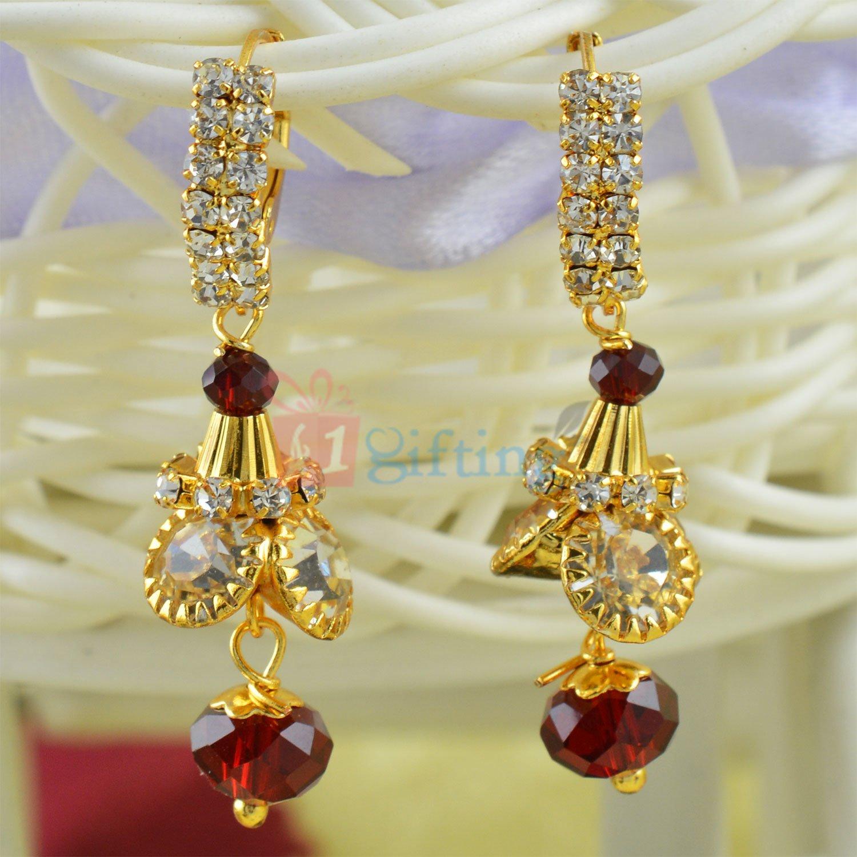 Pink Dangler Diamond Golden Fancy Earrings