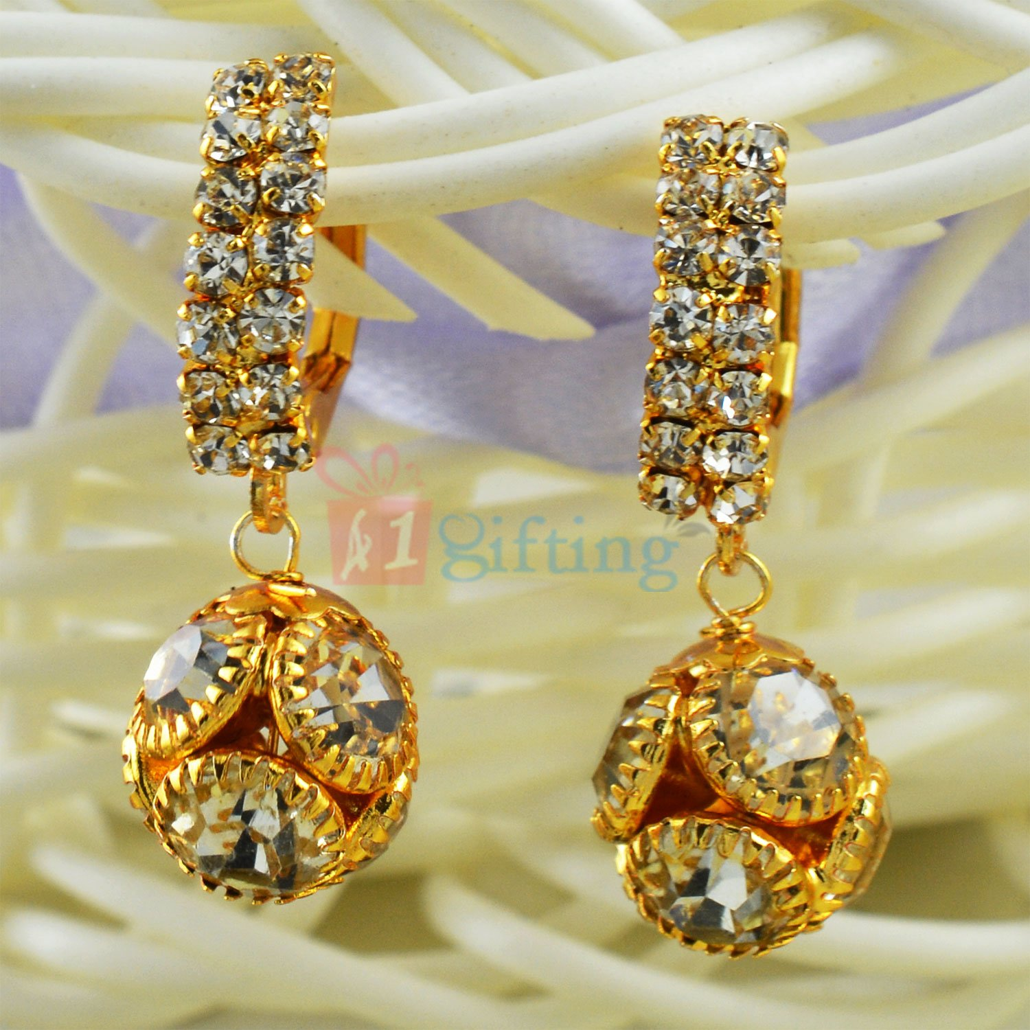 Diamond Ball Awesome Golden Touch Earrings