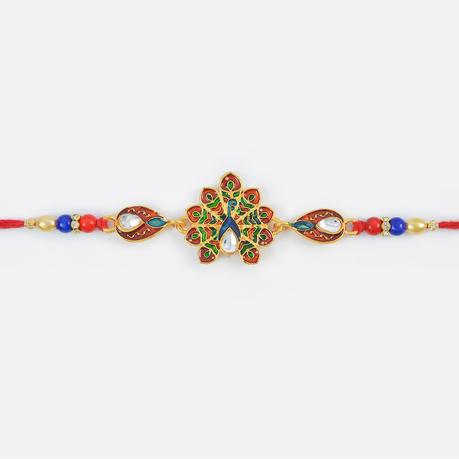 Stylish Colorful Peacock Designer Kundan Meena Rakhi