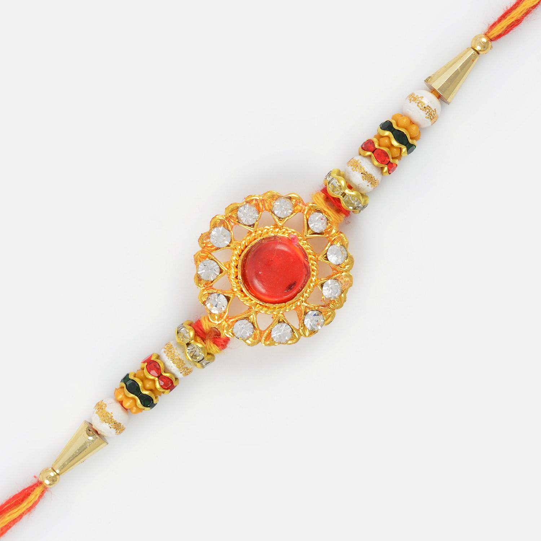 Beautiful Kundan Flower Antique Diamond Rakhi