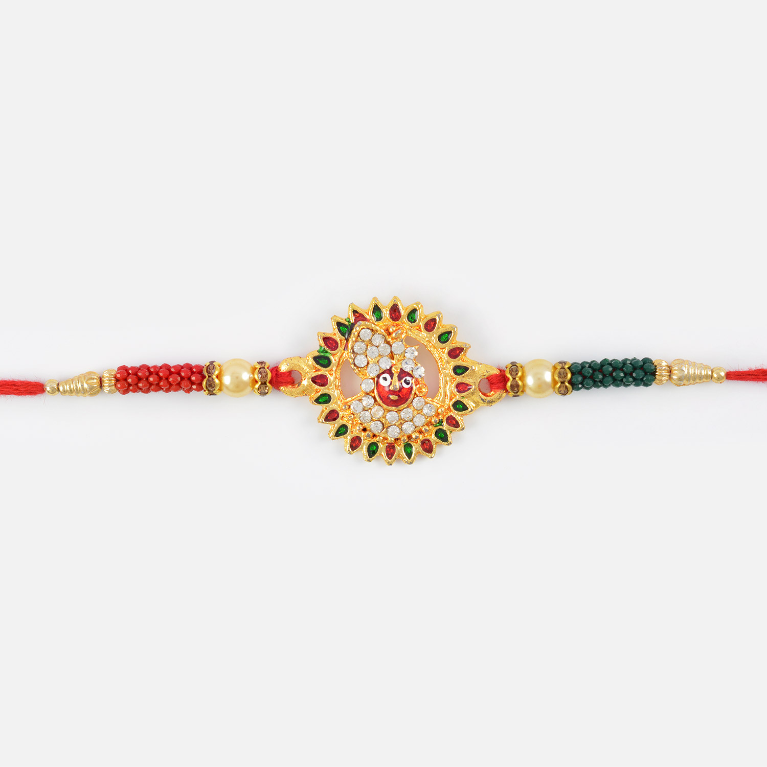 Golden Look of Lord Krishna with Golden Base and Beads in Authentic Red Mauli Rakhi