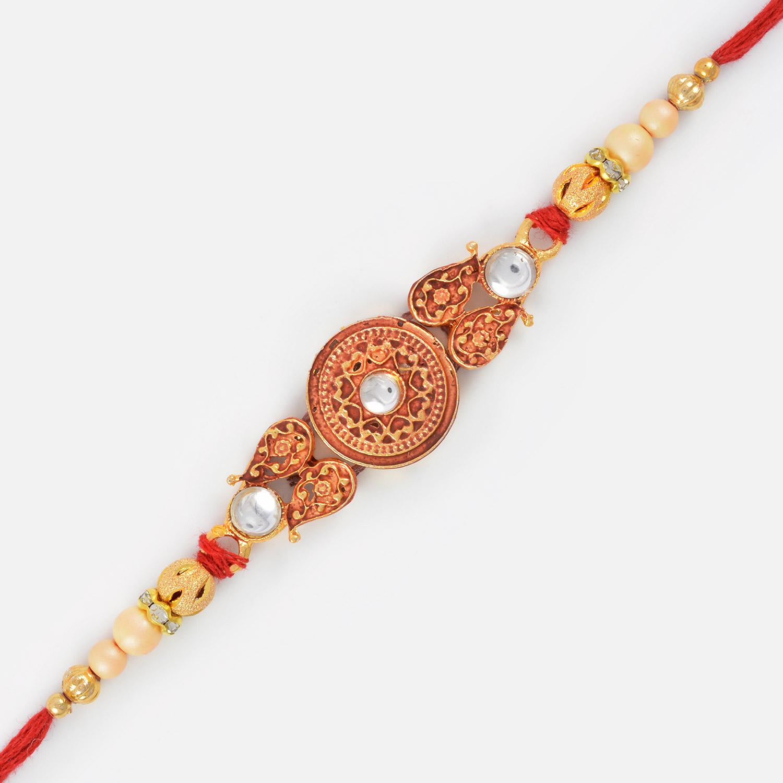 Beautiful Kundan Meena Round Shape Golden Rakhi